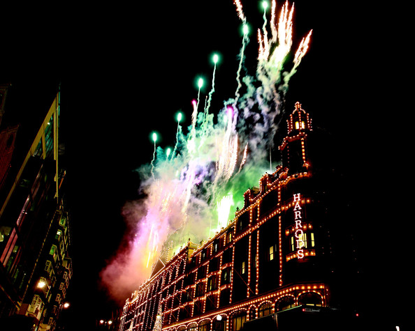 Fireworks explode during the switch on of Harrods Christmas Lights on November 1, 2012 in London, England.