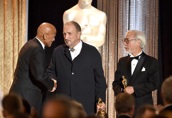 Academy Of Motion Picture Arts And Sciences' Governors Awards - Show [event,fashion,suit,formal wear,gesture,tuxedo,white-collar worker,honorees,hayao miyazak,jean-claude carriere,harry belafonte,l-r,hollywood highland center,california,academy of motion picture arts and sciences,governors awards,show]