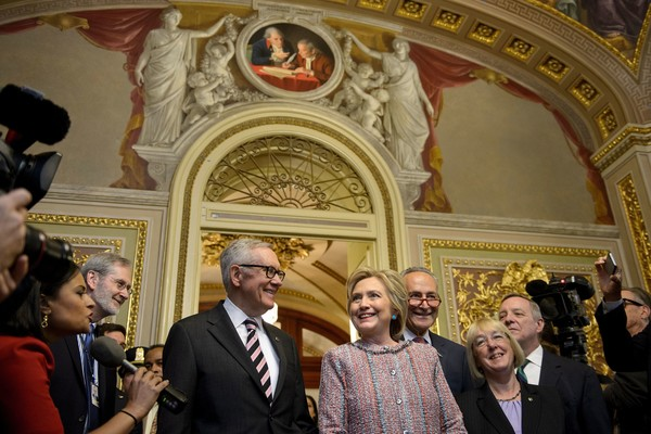 Presidential Candidate Hillary Clinton Meets With  Democratic Lawmakers On Capitol Hill