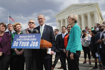 Harry Reid Charles Schumer Senate Democrats Call For Confirmation Hearing For Supreme Court Nominee