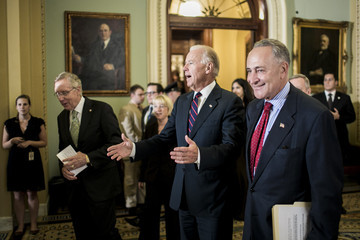 Harry Reid Joe Biden Senate Democratic Leaders Hold Press Conference After Vote On Tax Plans