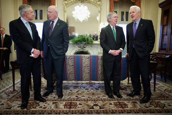 King Abdullah II Meets with Members of Congress [abdullah ii,members,patrick leahy,harry reid,john cornyn,mitch mcconnell,joe biden,l-r,event,suit,businessperson,tuxedo,formal wear,official,white-collar worker,house,management,government,congress,senate]