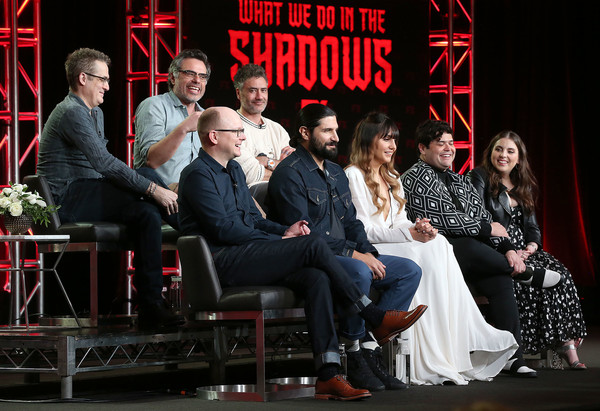 2019 Winter TCA Tour - Day 7 [television show,social group,event,performance,stage,heater,performing arts,musical theatre,musical,drama,theatre,kayvan novak,harvey guillen,natasia demetriou,mark proksch,paul simms,l-r,back row,pasadena,winter tca]