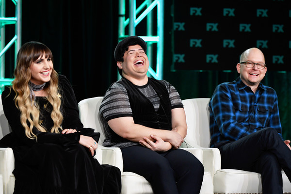 2020 Winter TCA Tour - Day 3 [what we do in the shadows,event,performance,heater,talent show,performing arts,conversation,stage,drama,natasia demetriou,harvey guillen,mark proksch,speak,l-r,pasadena,winter tca,fx,segment,harvey guillen,natasia demetriou,what we do in the shadows,jemaine clement,photograph,image,fx,stock photography,television]