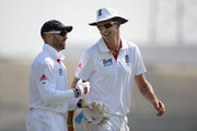 Kevin Pietersen and Matt Prior of England share a joke during day three of the tour match between England and Haryana at Sardar Patel Stadium ground B on November 10, 2012 in Ahmedabad, India.