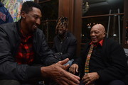 Scottie Pippen (L), Jay Ajai (C) and Quincy Jones (R) attend the Haute Living celebration of Quincy Jones with Rolls-Roye and LOUIS XIII at Mr Chow on February 07, 2019 in Beverly Hills, California.