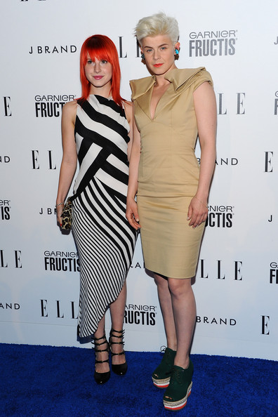 Hayley Williams Singers Hayley Williams and Robyn arrive at ELLE's 2nd Annual Women In Music Event at Music Box on April 11, 2011 in Hollywood, California.