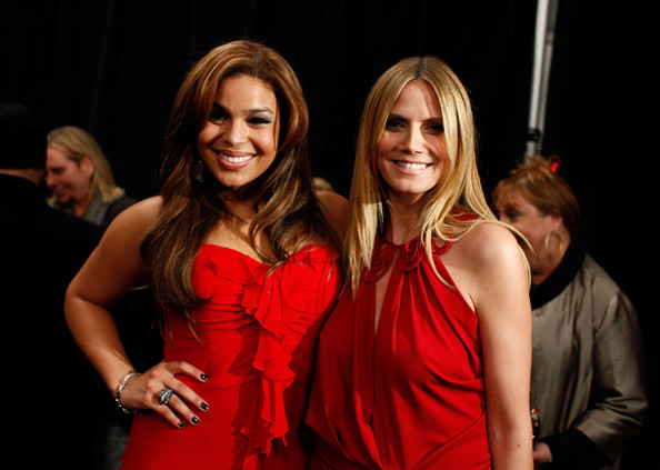 Singer Jordin Sparks and TV personality Heidi Klum backstage at the Heart Truth Fall 2010 Fashion Show during Mercedes-Benz Fashion Week at The Tent at Bryant Park on February 11, 2010 in New York City.