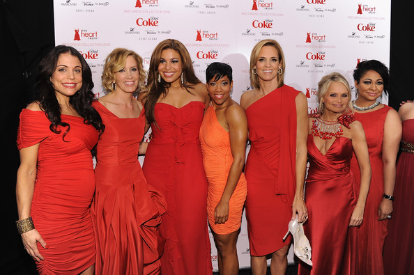 (L-R) Bethanny Frankel, Felicity Huffman, Jordin Sparks, Regina King, Dara Torres, Kristin Chenoweth and Raven Symone attend backstage during The Heart Truth Red Dress Collection Fall 2010 during Mercedes-Benz Fashion Week at Bryant Park on February 11, 2010 in New York City.