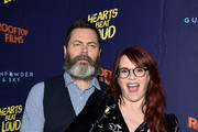 "Nick Offerman and Megan Mullally attend the ""Hearts Beat Loud"" New York Premiere at Pioneer Works on June 6, 2018 in New York City."