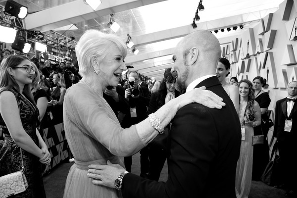 91st Annual Academy Awards - Creative Perspective [image,photograph,white,monochrome,black,black-and-white,monochrome photography,people,event,snapshot,crowd,helen mirren,sam rockwell,academy awards,perspective,l-r,hollywood,highland,california,annual academy awards]