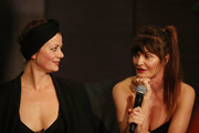Helena Christensen and Camilla Staerk speak to guests during a Q & A at David Jones Elizabeth Street Store on March 10, 2018 in Sydney, Australia.