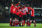 Davy Propper of PSV celebrates scoring his teams second goal of the game with team mates during the Dutch Eredivisie match between Heracles Almelo and PSV Eindhoven held at Polman Stadion on January 28, 2017 in Almelo, Netherlands.