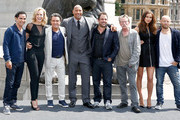 (l-r) Reece Ritchie, Ingrid Bolso Berdal, Ian McShane, Dwayne Johnson, Brett Ratner, John Hurt, Irina Shayk and Aksel Hennie attend a photocall for 'Hercules' at Trafalgar Square on July 2, 2014 in London, England.