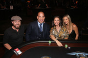 (L-R) A.J. Buckely, Tito Ortiz, Mimi Rogers and Joanna Krupa attend Heroes For Heroes: Los Angeles Police Memorial Foundation Celebrity Poker Tournament at Avalon Hollywood on November 10, 2018 in Los Angeles, California.