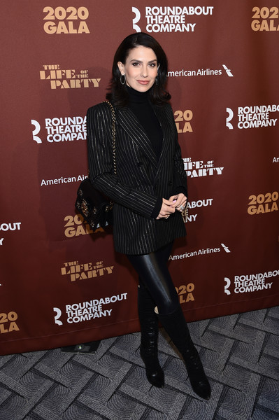 Roundabout Theater's 2020 Gala [clothing,fashion,leg,footwear,joint,outerwear,tights,knee-high boot,premiere,leather,hilaria baldwin,roundabout theater,the ziegfeld ballroom,new york city,gala,celebrity,socialite,leather jacket,fashion,jacket,carpet,model,leather]