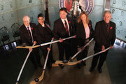 (L-R) Jimmy Devellano, Angela James, Dino Ciccarelli, Cammi Granato, and Bob Seaman (representing Doc Seaman), appear at a media opportunity prior to their induction ceremony to the Hockey Hall of Fame on November 8, 2010 in Toronto, Canada.