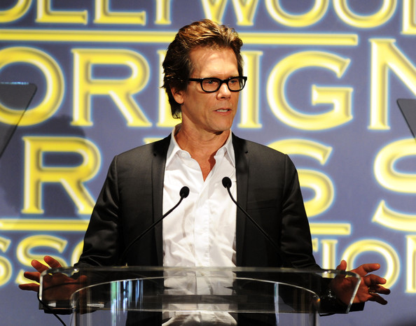 Actor Kevin Bacon speaks onstage during the Presentation of Grants at the Hollywood Foreign Press Association's 2011 Installation Luncheon at Beverly Hills Hotel on August 4, 2011 in Beverly Hills, California.