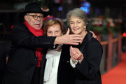 (L-R) Festival director Dieter Kosslick, director Liliana Cavani and Charlotte Rampling arrive for the Hommage Charlotte Rampling Honorary Golden Bear award ceremony during the 69th Berlinale International Film Festival Berlin at Berlinale Palace on February 14, 2019 in Berlin, Germany. Rampling is this years recipient of the Honorary Golden Bear Award of the Berlinale.