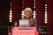 Helen Mirren speaks after receiving the Honorary Golden Bear award at the Homage ceremony during the 70th Berlinale International Film Festival Berlin at Berlinale Palace on February 27, 2020 in Berlin, Germany. Helen Mirren is this years recipient of the Honorary Golden Bear Award of the Berlinale.