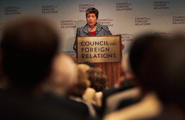 U.S. Secretary of the Department of Homeland Security Janet Napolitano speaks at the Council on Foreign Relations July 29, 2009 in New York City. The head of the Department of Homeland Security is scheduled for several stops in New York today, including Ground Zero, as she addresses national security issues. Napolitano has also initiated a review of the color- coded terror-alert system deemed vague by critics that's intended to inform the public on terror threats.