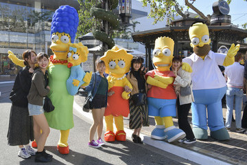 Homer Simpson Bart Simpson Disney+ Official U.S. Launch Party At The Grove