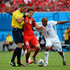 Wilson Palacios Photos - Admir Mehmedi of Switzerland and Wilson Palacios of Honduras collide with referee Nestor Pitana during the 2014 FIFA World Cup Brazil Group E match between Honduras and Switzerland at Arena Amazonia on June 25, 2014 in Manaus, Brazil. - Wilson Palacios Photos - 16 of 338