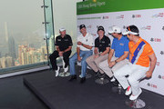 """Paul Lawrie of Scotland, Matt Kucher of USA,Rory McIlroy of Northern Ireland, Padraig Harrington of Ireland and Y.E Yang of Korea speak to the press during The 2012 UBS Hong Kong Open """"Meet the Players"""" Press Conference and Tournament Photo Call at The Peak Tower on November 13, 2012 in Hong Kong, Hong Kong."""