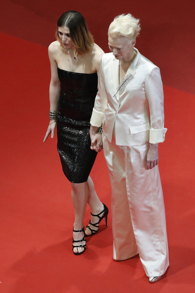'Parasite' Red Carpet - The 72nd Annual Cannes Film Festival [red carpet,carpet,clothing,fashion,flooring,lady,dress,premiere,leg,fashion model,honor swinton byrne,tilda swinton,r,parasite red carpet,cannes,france,l,the 72nd annual cannes film festival,screening]