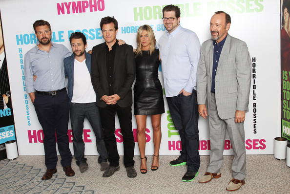 (UK TABLOID NEWSPAPERS OUT) L-R Jason Sudeikis, Charlie Day, Jason Bateman, Jennifer Aniston, Seth Gordon and Kevin Spacey pose for a photocall to promote the UK release of Horrible Bosses at The Dorchester on July 20, 2011 in London, England.