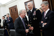 Subcommittee Chairman Rep. Rodey Freylinghuysen (L) (R-NJ) speaks with Secretary of the Army John McHugh (R) and Army Chief of Staff Raymond Odierno (C) prior to a hearing conducted by the House Defense Subcommittee March 26, 2015 in Washington, DC. The committee heard testimony on the budget request from the Army during the hearing.