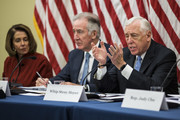 House Minority Whip Steny Hoyer (D-MD) speaks as House Minority Leader Nancy Pelosi (D-CA) (R) and Rep. Richard Neal (D-MA) (C) look on during a forum held by Democratic members of the House Ways and Means Committee discussing Republican tax legislation and the U.S. economy on December 13, 2017 in Washington, DC.