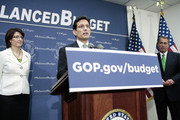 House Majority Leader Eric Cantor (R-VA) (C) speaks during a press conference with House GOP leaders, including House Speaker John Boehner (R-OH) (R) and House Republican Conference Chairman Cathy McMorris Rodgers (R-WA), after a party conference on March 19, 2013 in Washington, DC. GOP leaders asked that the president work with them to create a balanced budget plan, citing President Clinton's efforts to work with House Republicans on a budget in the 1990s.