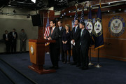 U.S. House Majority Leader Rep. Eric Cantor (R-VA) (L) speaks as (2nd L-R) Rep. Dave Camp (R-MI), and Rep. Diane Black (R-TN), Rep. Paul Ryan (R-WI), and Rep. Jeb Hensarling (R-TX) listen during a news conference April 13, 2011 on Capitol Hill in Washington, DC. Cantor held a news conference to discuss job creation and the budget for 2012.