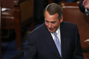 Outgoing Speaker of the House John Boehner (R-OH), who has been known to cry, jokingly holds a box of Kleenex while addressing fellow members of the U.S. House of Representatives on the floor of the House chamber October 29, 2015 in Washington, DC. The House is expected to elect Rep. Paul Ryan (R-WI) as the 62nd Speaker of the House, replacing Rep. John Boehner (R-OH), later in the day.