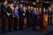 Rep. Ileana Ros-Lehtinen (R-FL) is joined by more than a dozen Republican members of Congress as she speaks during a news conference about the Deferred Action for Childhood Arrivals (DACA) program at the U.S. Capitol November 9, 2017 in Washington, DC. Conservative and moderate House GOP members voiced their support for legislation that would create a permanent solution for DACA 'Dreamers.'