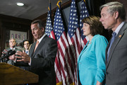 House Speaker John Boehner (R-OH) (C) and House Republican leaders (L-R) Majority Whip Kevin McCarthy (R-CA), Majority Leader Eric Cantor (R-VA), Rep. Cathy McMorris Rodgers (R-WA) and Rep. Fred Upton (R-MI) speak to the press after a conference meeting  on November 13, 2013 in Washington, DC. The Republican leadership criticized the president's insistence that current health care plans could be kept, citing letters received by their constituents warning about an upcoming plan cancellation.