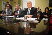 (R-L) House Ways and Means Committee Chairman Kevin Brady (R-TX), ranking member Rep. Richard Neal (D-MA) and committee member Rep. Peter Roskam (R-IL) prepare to testify before the House Rules Committee about the Tax Cuts and Jobs Act Conference Report at the U.S. Capitol December 18, 2017 in Washington, DC. The committee held a hearing on the rules governing debate on the tax bill, which the House of Representatives is expected to vote on Tuesday.