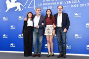 (L-R) Ariane Ascaride, Robert Guediguian, Anais Demoustier and Jean-Pierre Darroussin attend the 'The House By The Sea (La Villa)' photocall during the 74th Venice Film Festival at Sala Casino on September 3, 2017 in Venice, Italy.