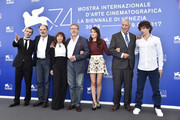 Robinson Stevenin, Jean-Pierre Darroussin, Ariane Ascaride, Robert Guediguian, Anais Demoustier, Jacques Boudet and Yann Tregouet attend the 'The House By The Sea (La Villa)' photocall during the 74th Venice Film Festival on September 3, 2017 in Venice, Italy.