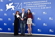 (L-R) Ariane Ascaride, Robert Guediguian and Anais Demoustier attend the 'The House By The Sea (La Villa)' photocall during the 74th Venice Film Festival at Sala Casino on September 3, 2017 in Venice, Italy.