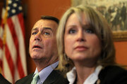 U.S. Speaker of the House Rep. John Boehner (R-OH) (L) listens to questions from the media during a photo-op prior to a meeting with Republican negotiators for a conference committee of payroll tax cut negotiation including Rep. Renee Ellmers (R-NC) December 21, 2011 on Capitol Hill in Washington, DC. The House Republicans called on the Democrats to appoint members to the negotiation table to work on the payroll tax cut extension bill that the House rejected after the Senate approved it.