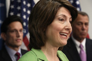 U.S. Rep. Cathy McMorris Rodgers (R-WA) (2nd L) speaks as Speaker of the House Rep. John Boehner (R-OH) (R) and House Majority Leader Rep. Eric Cantor (R-VA) (L) listen during a news briefing after a House Republican Conference meeting January 14, 2014 on Capitol Hill in Washington, DC. Congressional negotiators have reached to an agreement of a $1.1 trillion spending bill to avoid another government shutdown when the current funding ends tomorrow.