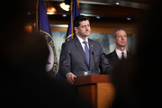 U.S. Speaker of the House Paul Ryan (L) (R-WI) answers questions at a press conference at the U.S. Capitol with Rep. Mac Thornberry (R) (R-TX) on March 22, 2018 in Washington, DC. Ryan answered a range of questions related to the ominbus spending bill the House of Representatives is currently considering.