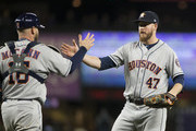Brian McCann #16 of the Houston Astros celebrates with Chris Devenski #47 after defeating the Seattle Mariners at Safeco Field on April 17, 2018 in Seattle, Washington. The Houston Astros won 4-1.