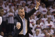 Head coach Billy Donovan of the Oklahoma City Thunder reacts to game action against the Houston Rockets  during the second half of Game Four in the 2017 NBA Playoffs Western Conference Quarterfinals on April 23, 2017 in Oklahoma City. The Rockets defeated the Thunder 113-109. NOTE TO USER: User expressly acknowledges and agrees that, by downloading and or using this photograph, User is consenting to the terms and conditions of the Getty Images License Agreement.