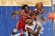 Nene Hilario #42 of the Houston Rockets shoots the ball against Marreese Speights #5 of the Orlando Magic on January 3, 2018 at the Amway Center in Orlando, Florida. NOTE TO USER: User expressly acknowledges and agrees that, by downloading and or using this Photograph, user is consenting to the terms and conditions of the Getty Images License Agreement. Mandatory Copyright Notice: Copyright 2018 NBAE