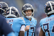 Ryan Tannehill #17 of the Tennessee Titans warms up before a game against the Houston Texans at Nissan Stadium on December 15, 2019 in Nashville, Tennessee.