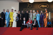 """Actresses Nicole Kidman, Elle Fanning, actors Alex Sharp, AJ Lewis, director John Cameron Mitchell, costume designer Sandy Powell, Novel's author Neil Gaiman and the cast of the movie attend the """"How To Talk To Girls At Parties"""" screening during the 70th annual Cannes Film Festival at Palais des Festivals on May 21, 2017 in Cannes, France."""