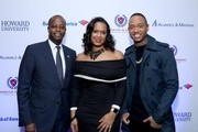 (L-R) President of Howard University Wayne A.I. Frederick, Simone Frederick, and Terrence J attend La La Anthony's Pre-Grammy Party Presented by Howard University on January 26, 2018 in New York City.